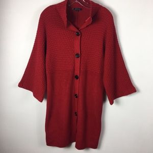 Anne Klein Red Sweater Coat Duster size large